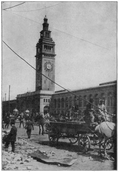 The Clock Tower of the Ferry Terminal - the Clock Stopped at 5:15 the Exact Moment that the Earthquake Struck