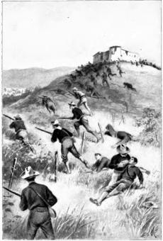 Artist's rendering of American troops storming El Canay