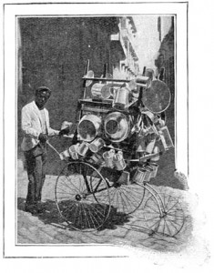 A street hawker selling pots and pans on a Havana street