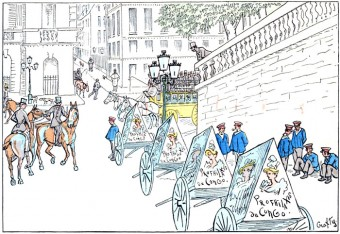 Before there were ads on the sides of trucks and buses, Paris had men who pulled carts covered with ads. Here the illustration shows the men taking a break.