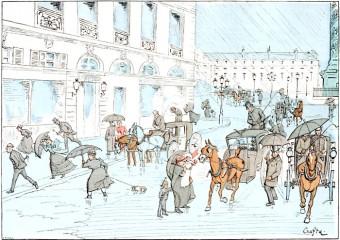 A Downpour at Place de Vendome
