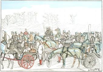Horses and Jockeys Returning from the Race
