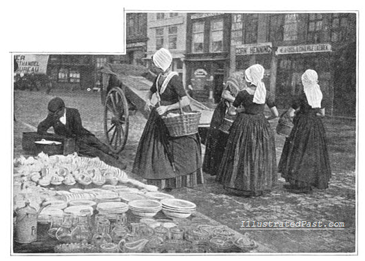Dutch Housewives Buying from a Street Vendor