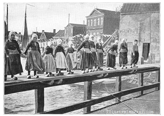 Traditional Dutch Dancing. Boys and Girls dance with clogs.