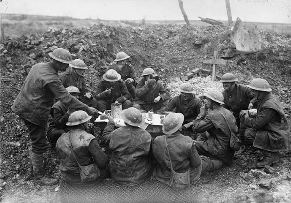 British troops celebrate Christmas Day in the Somme, 1916