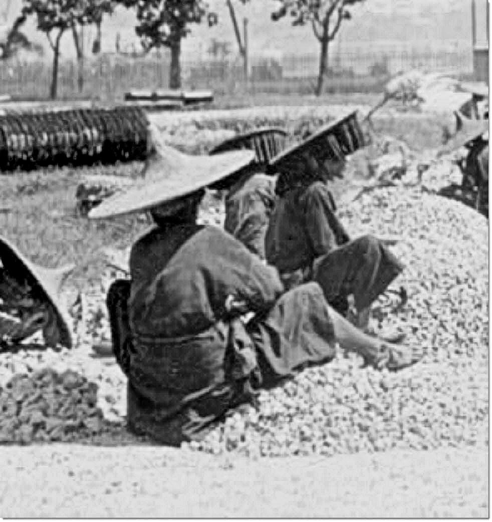 Women Breaking Rocks for Road Construction, Kowloon China