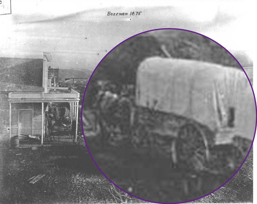 Covered Wagons, Downtown Bozeman Montana, 1873