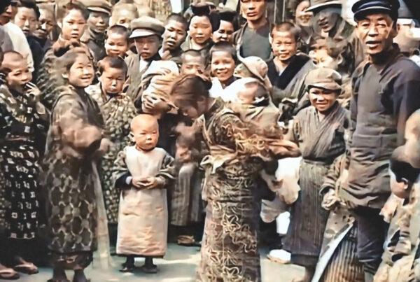 Happy children on a Tokyo street, 1913
