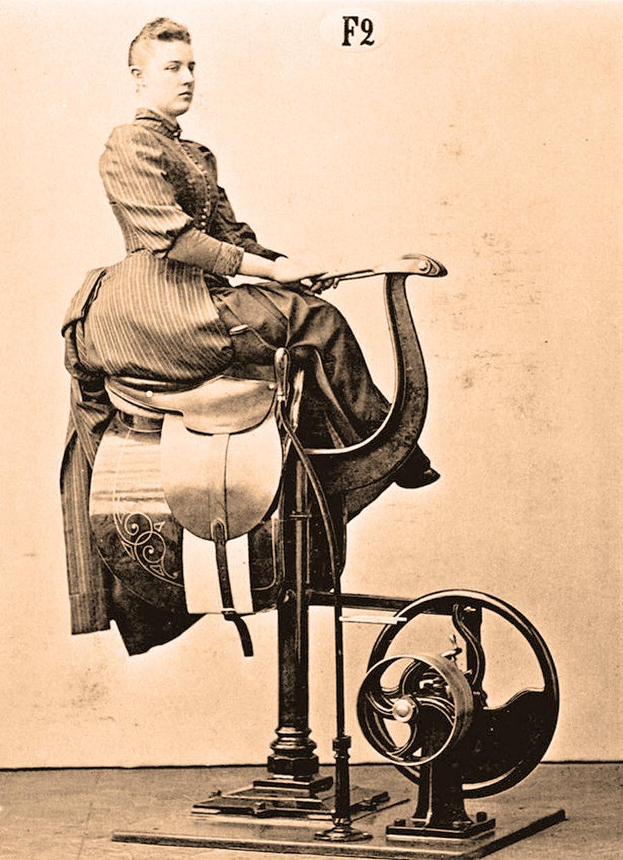 Victorian era fitness equipment. Woman riding a motorized mechanical horse.